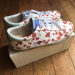 Golden Goose Superstar Red Hearts Leather Sneakers